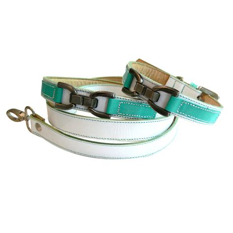 cool collars cool leather collar white with turquoise