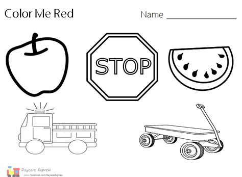 color red color red worksheet color red preschool red