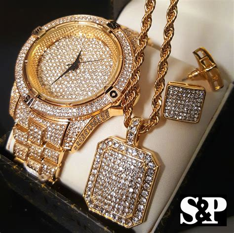 MEN HIP HOP ICED OUT GOLD PT LAB DIAMOND WATCH & NECKLACE