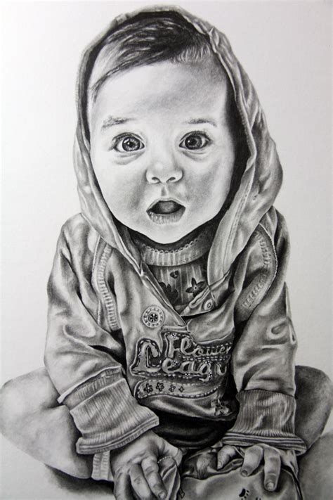 pencil portrait drawing baby child portrait in pencil drawing by