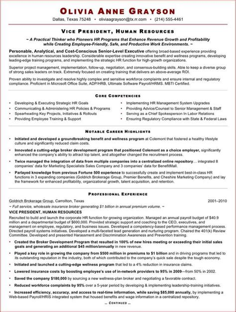 hr executive resume format doc executive resume sle for hr vp free premium templates forms sles for doc