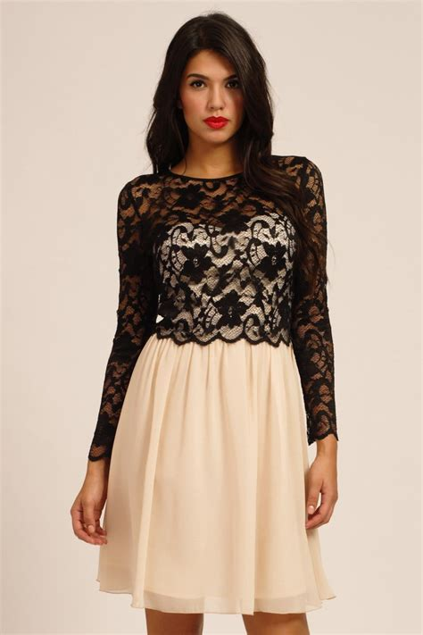Dress Longsleeve black floral lace detail sleeve dress
