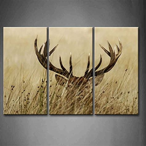 stag wall decor 3 panel wall deer stag with antler in the bushes
