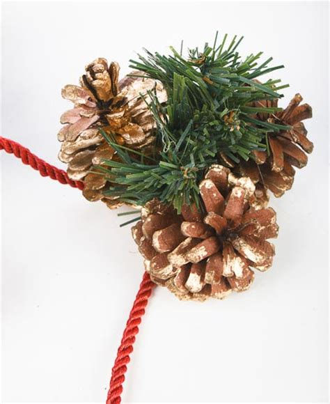 brushed gold natural pine cones artificial pine rope