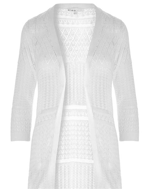pointelle knit cardigan white pointelle knit cardigan cleo