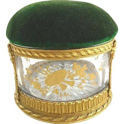 Chesapeake Court Search Antique Glass Box Bronze Dore Pin Cushion Velvet Lid 43 Chesapeake