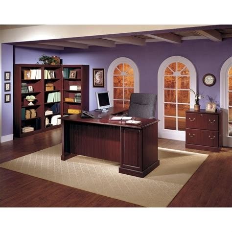 wood home office desk bush saratoga home office wood managers cherry executive