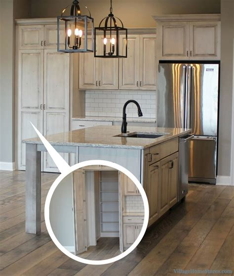 white drift painted kitchen  hidden pantry front