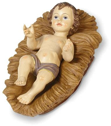Baby Jesus In Crib by Infant Jesus With Figurine