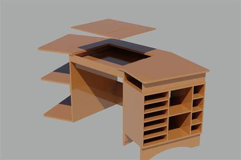 Angled Computer Desk with Angled Computer Desk Step Iges 3d Cad Model Grabcad