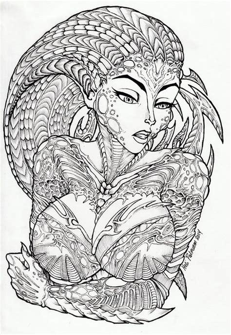 coloring pages advanced fantasy alien lady lineart by volvom on deviantart fantasy