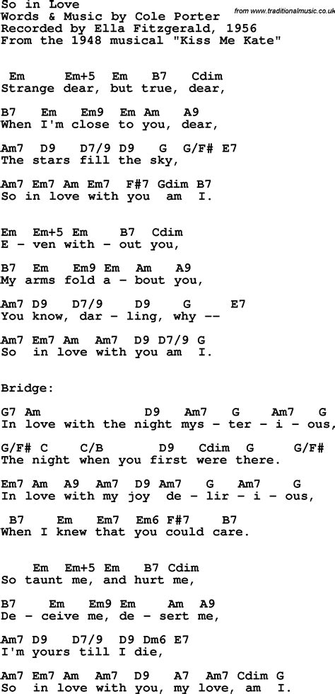 song ella fitzgerald song lyrics with guitar chords for so in ella
