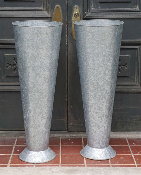 Large Galvanized Planters by Pair Of 20th Century Large Galvanized Zinc Flower Planters At 1stdibs