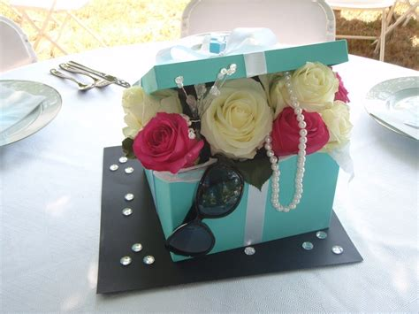 front of diy tiffany s box centerpiece bridal shower