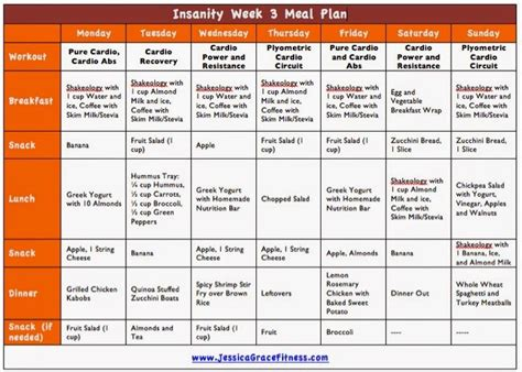Pdf Diet Foods 4 Minute Workouts Weeks by Grace Fitness Insanity Week 3 Meal Plan Fitness