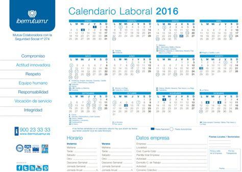 Calendario Rellenable 2017 Calendario Laboral De Ibermutuamur 2016 On Mutua