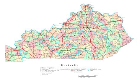kentucky state in usa map large administrative map of kentucky state with highways
