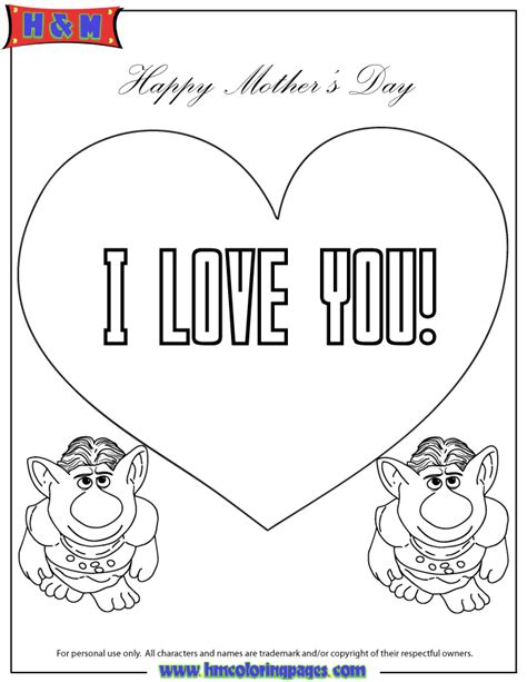 frozen troll coloring page trolls from frozen movie say i love you coloring page
