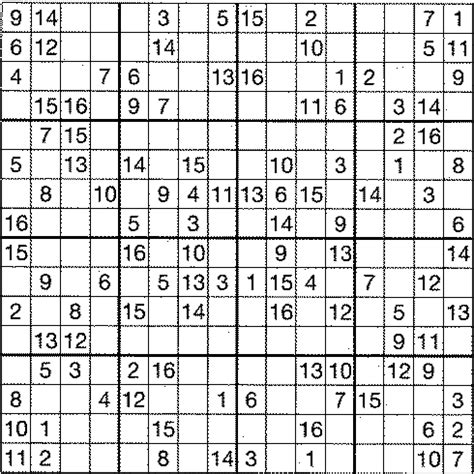 printable sudoku with 16 numbers printable sudoku puzzles 4 per page