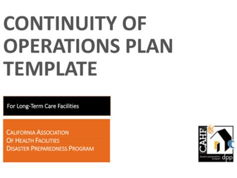continuity of operations plan template cdph business continuity webinar for hospital executives