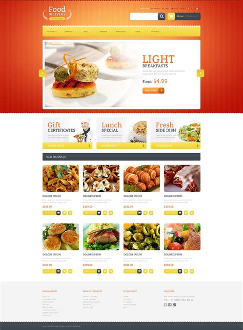 templates for catering website food delivery magento theme 46841