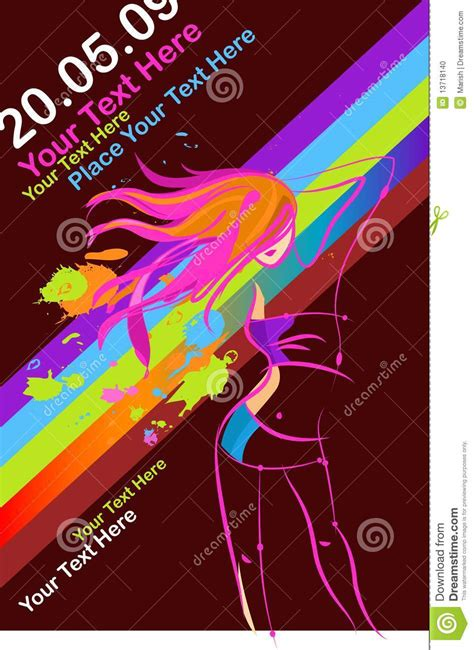 template flyer girl dance disco party girl flyer stock photo image 13718140