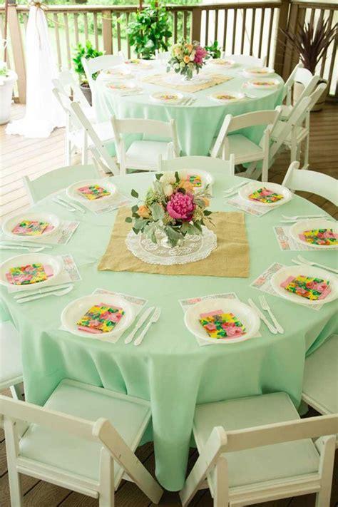 Bridal Shower Tablecloths by Vintage Bridal Shower In Mint And Vintage Bridal