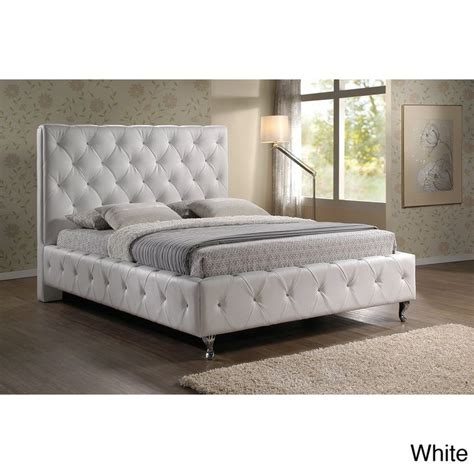 stella tufted white modern king size bed with