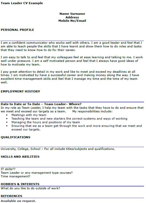 team leader cover letter exle team leader cv exle icover org uk