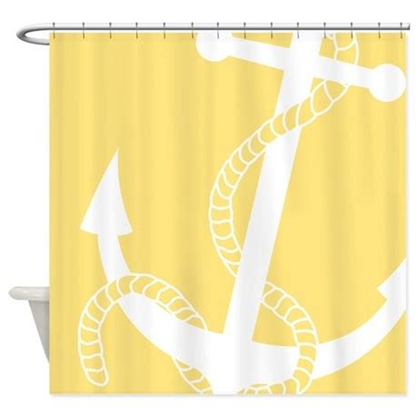 Pale Yellow Shower Curtain by Nautical Big Anchor Light Yellow Shower Curtain By Pinkinkart2