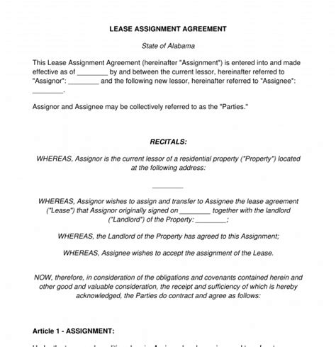 lease assignment agreement template word
