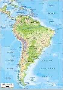 large detailed physical map of south america with roads