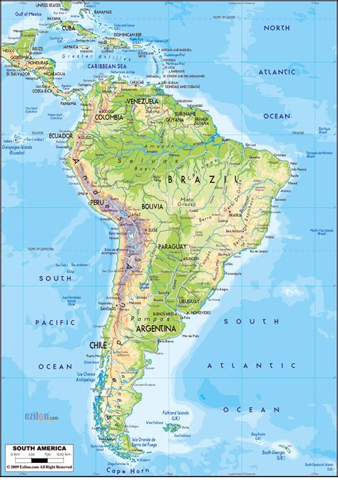 america map detailed large detailed physical map of south america with roads