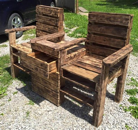 bench from chairs wood pallet outdoor bench double chair