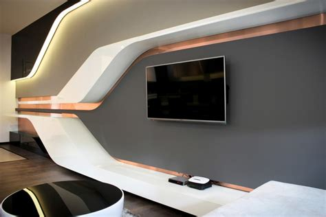 black white futuristic couch bedroom ultra modern living room idea with long white