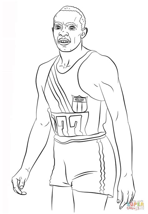 jesse owens coloring page free printable coloring pages