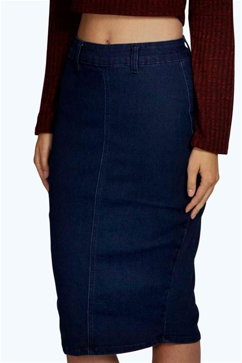 boohoo high waisted denim pencil skirt in blue lyst