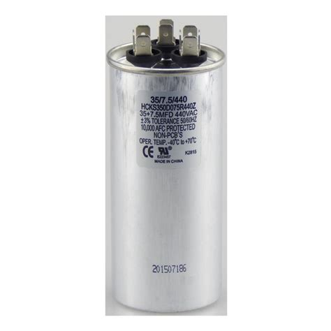 run capacitor specifications tradepro 440 volt 35 7 5 mfd dual motor run capacitor tpr3575440 the home depot