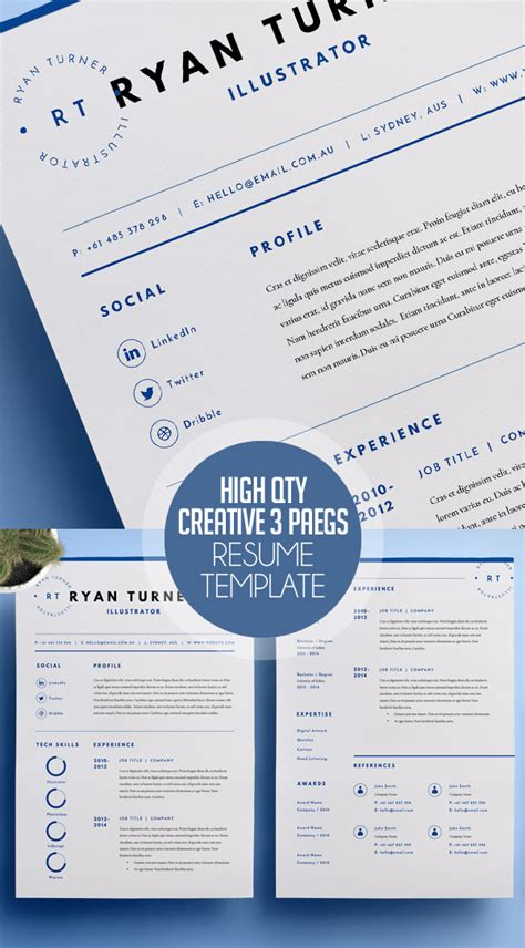 3 Page Resume Template by Modern Cv Resume Templates Cover Letter Portfolio Page