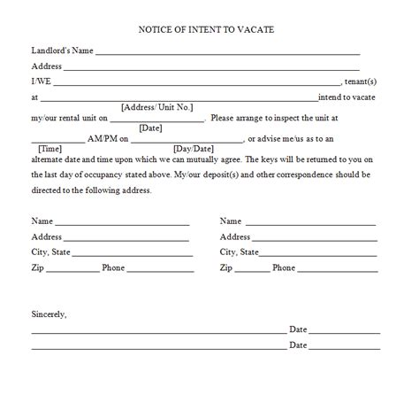 Lease Notice Of Intent To Vacate 45 Eviction Notice Templates Lease Termination Letters