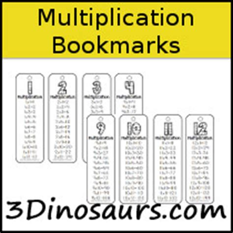 printable math bookmarks 3 dinosaurs bookmarks printables