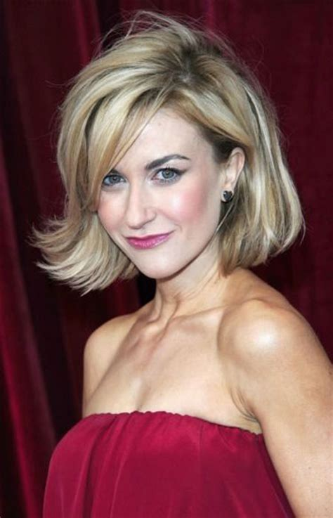 short bobs hairstyle with side swoop short hair blunt bang layered how to cut a layered bob