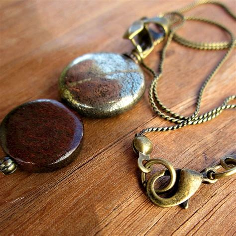 Seattle Handmade Jewelry - wood and pyrite pendant on rustic brass chain necklace