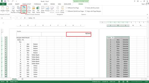 membuat nomor halaman pada ms excel cara memasukkan tanggal dan nomor halaman ke hasil