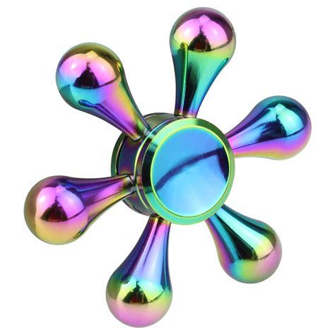 Spinner Fidget Toys Spc 2 color rainbow alloy figet spinner finger edc