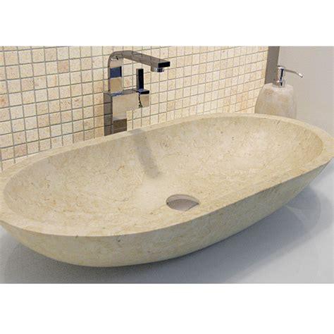 lavabo bagno pietra lavabo da appoggio ovale in pietra naturale beige riau