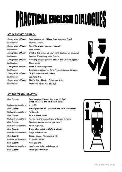 Free Printable English Worksheets On Dialogue | practical english dialogues worksheet free esl printable