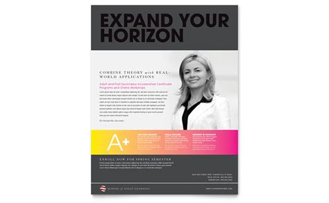 Adult Education Business School Flyer Template Word Publisher Course Flyer Template