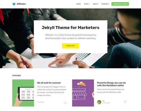 bootstrap themes for jekyll free jekyll template affiliates