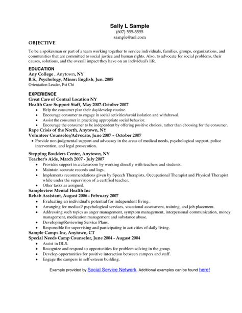 Work Objectives For Resumes by Social Work Resume Objective Statement
